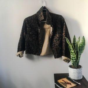 Nasty Gal - Cheetah Cropped Denim Jacket